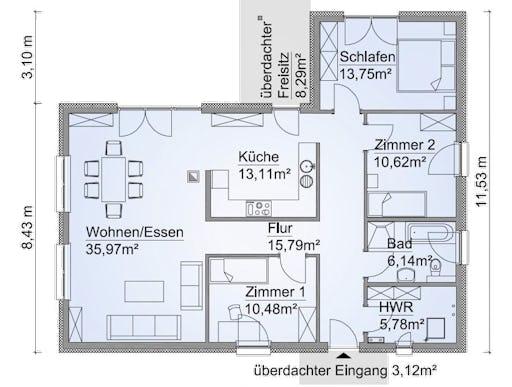 sh 122 wb var a von scanhaus marlow bungalow kr ppelwalmdach. Black Bedroom Furniture Sets. Home Design Ideas