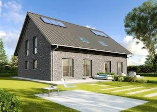 doppelhaus 124 von hanse haus cubus haus flachdach. Black Bedroom Furniture Sets. Home Design Ideas